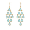 Gold Plated Sterling Silver Chandelier Earrings with Semi-Precious Stones - Aqua Chalcedony