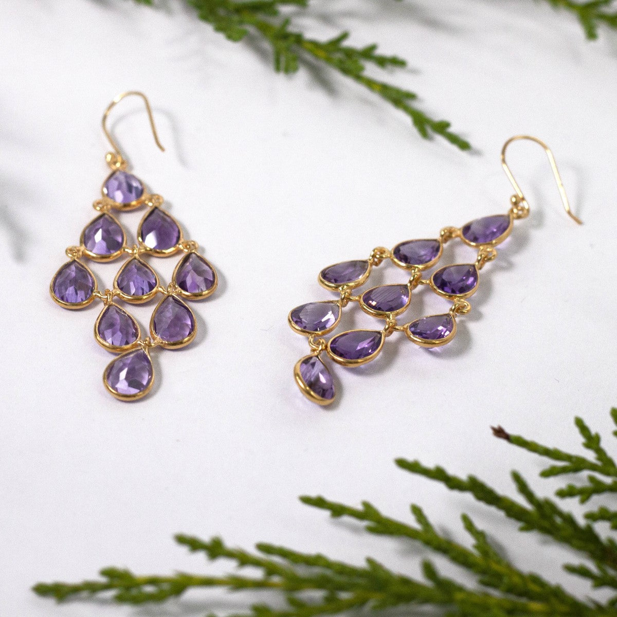 Gold Plated Sterling Silver Chandelier Earrings with Semi-Precious Stones - Amethyst