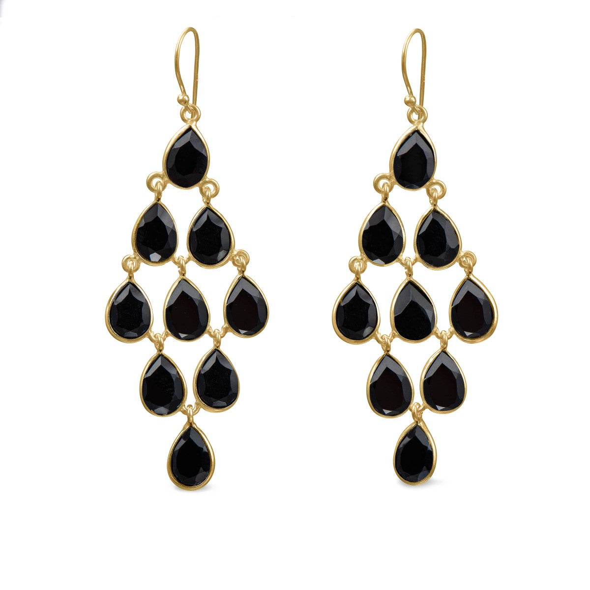 Gold Plated Sterling Silver Chandelier Earrings with Semi-Precious Stones - Black Onyx
