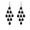Sterling Silver Chandelier Earrings with Semi-Precious Stones - Black Onyx
