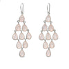 Sterling Silver Chandelier Earrings with Semi-Precious Stones - Rose Quartz