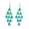 Gold Plated Sterling Silver Chandelier Earrings with Semi-Precious Stones - Turquoise