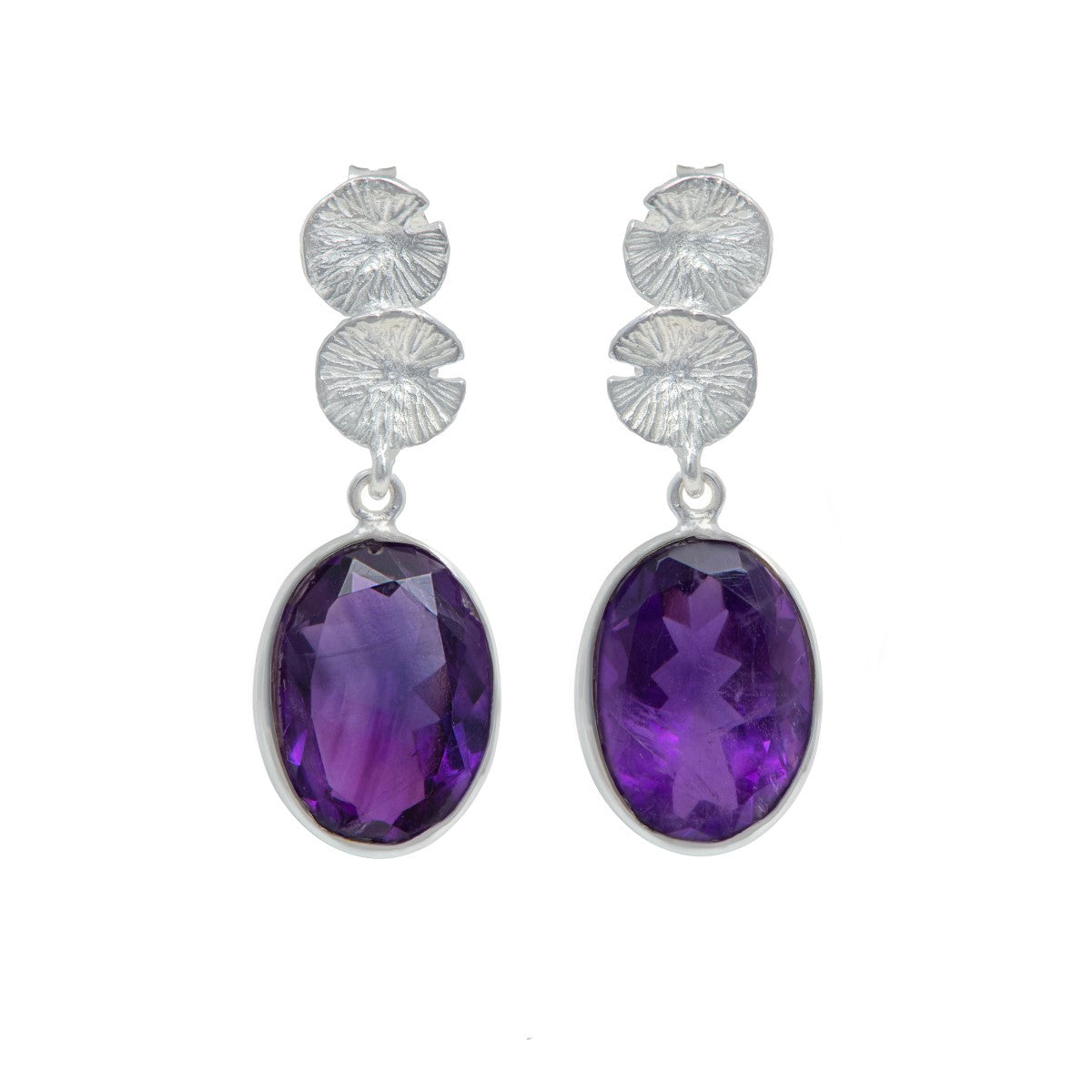 Lily Pad Earrings in Sterling Silver with an Amethyst Gemstone Drop