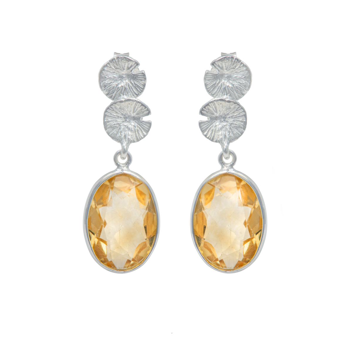 Lily Pad Earrings in Sterling Silver with a Citrine Gemstone Drop