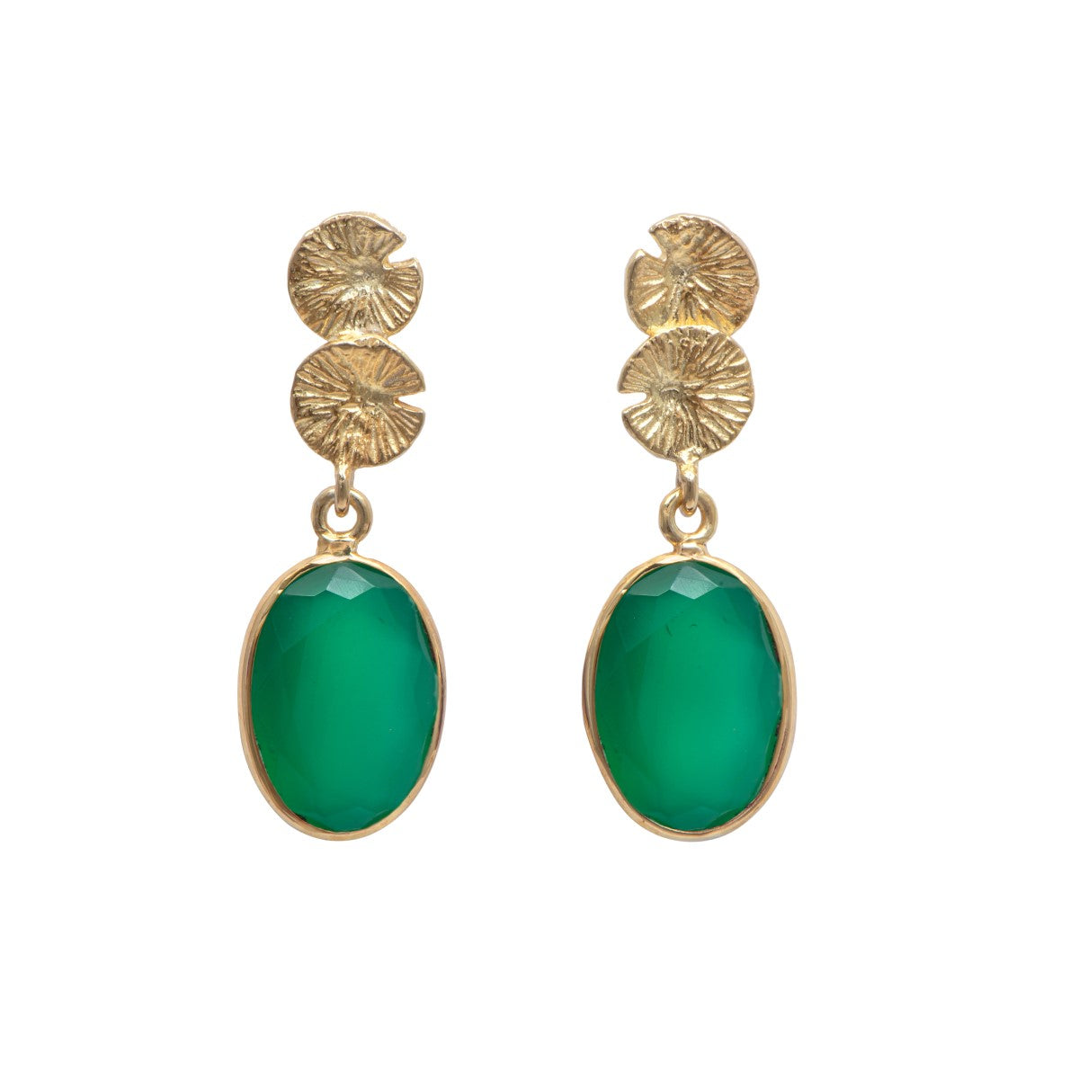Lily Pad Earrings in Gold Plated Sterling Silver with a Green Onyx Gemstone Drop