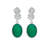 Lily Pad Earrings in Sterling Silver with a Green Onyx Gemstone Drop