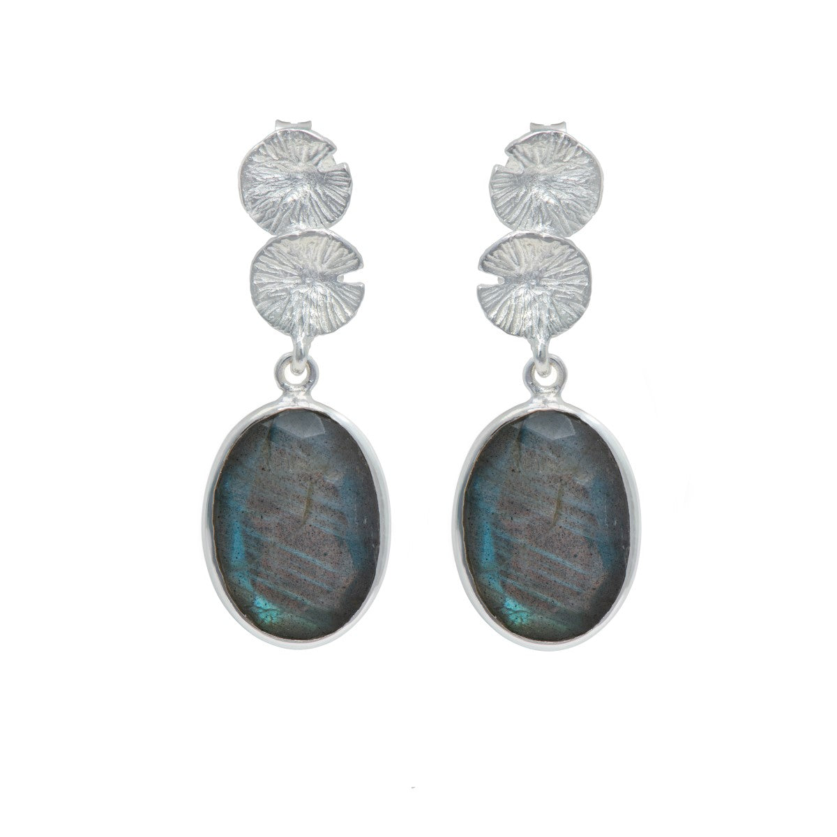Lily Pad Earrings in Sterling Silver with a Labradorite Gemstone Drop