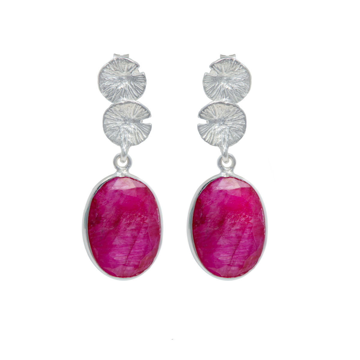 Lily Pad Earrings in Sterling Silver with a Ruby Quartz Gemstone Drop
