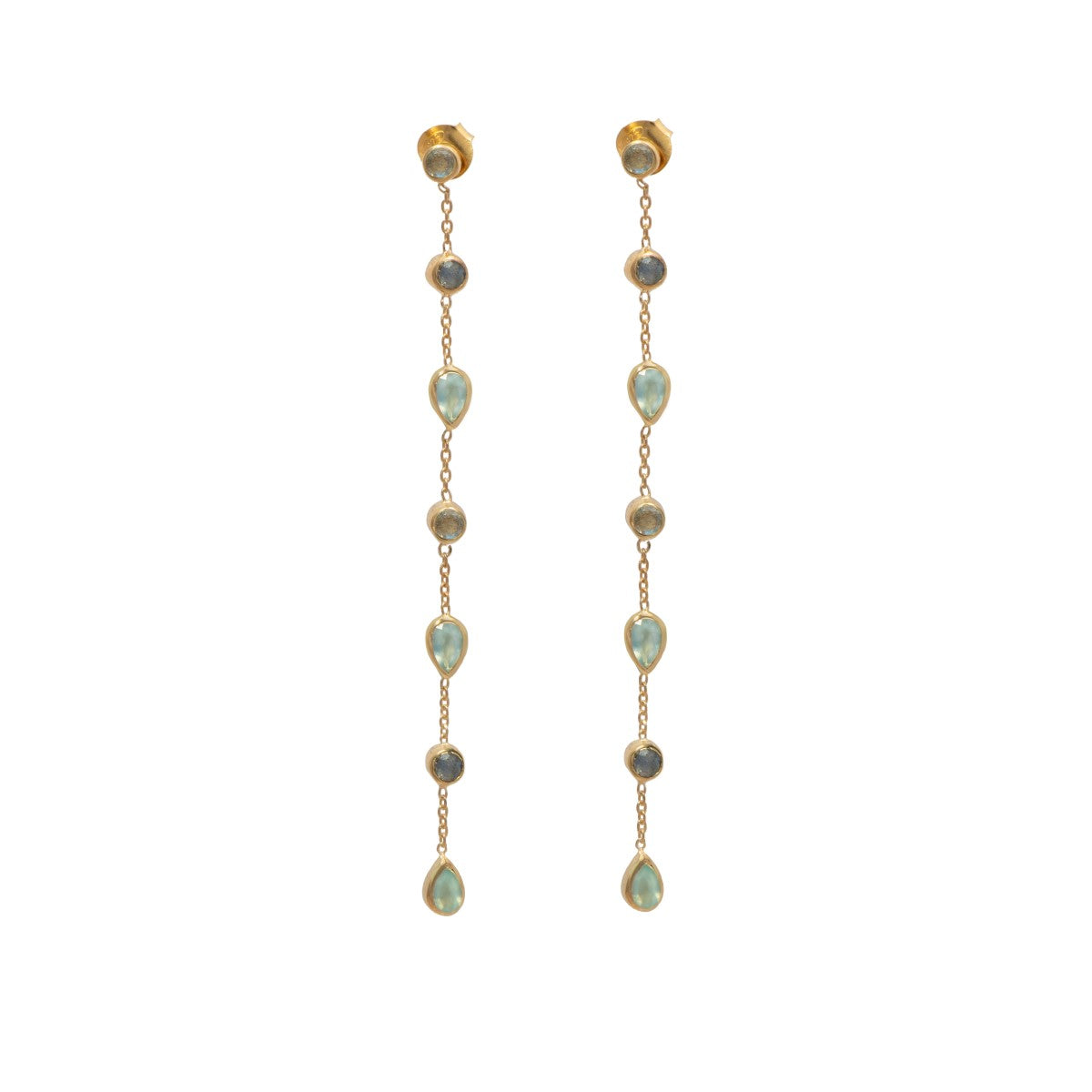 Long fine earrings with small round and teardrop gemstones - Aqua Chalcedony and Labradorite