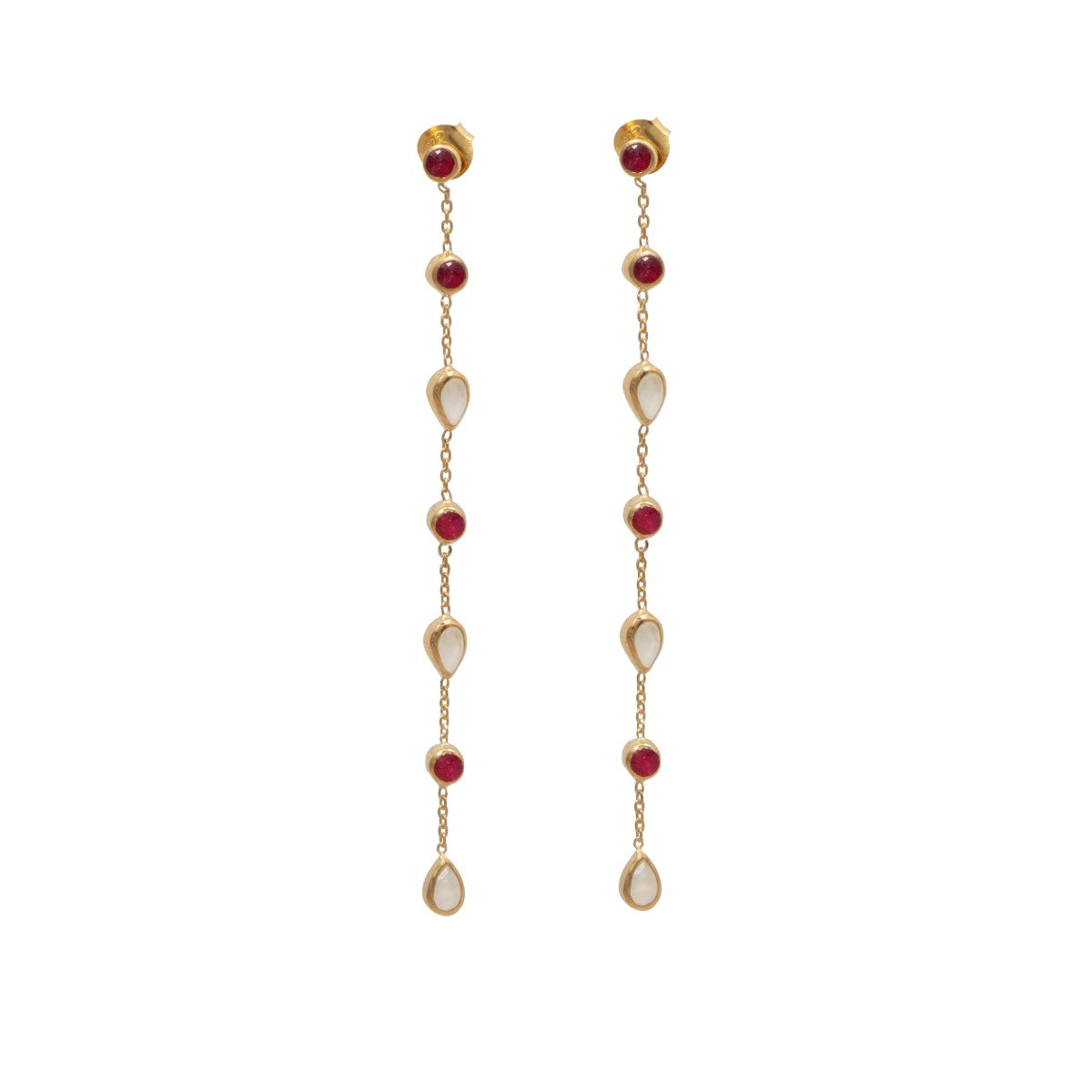 Long fine earrings with small round and teardrop gemstones - Ruby Quartz and Moonstone