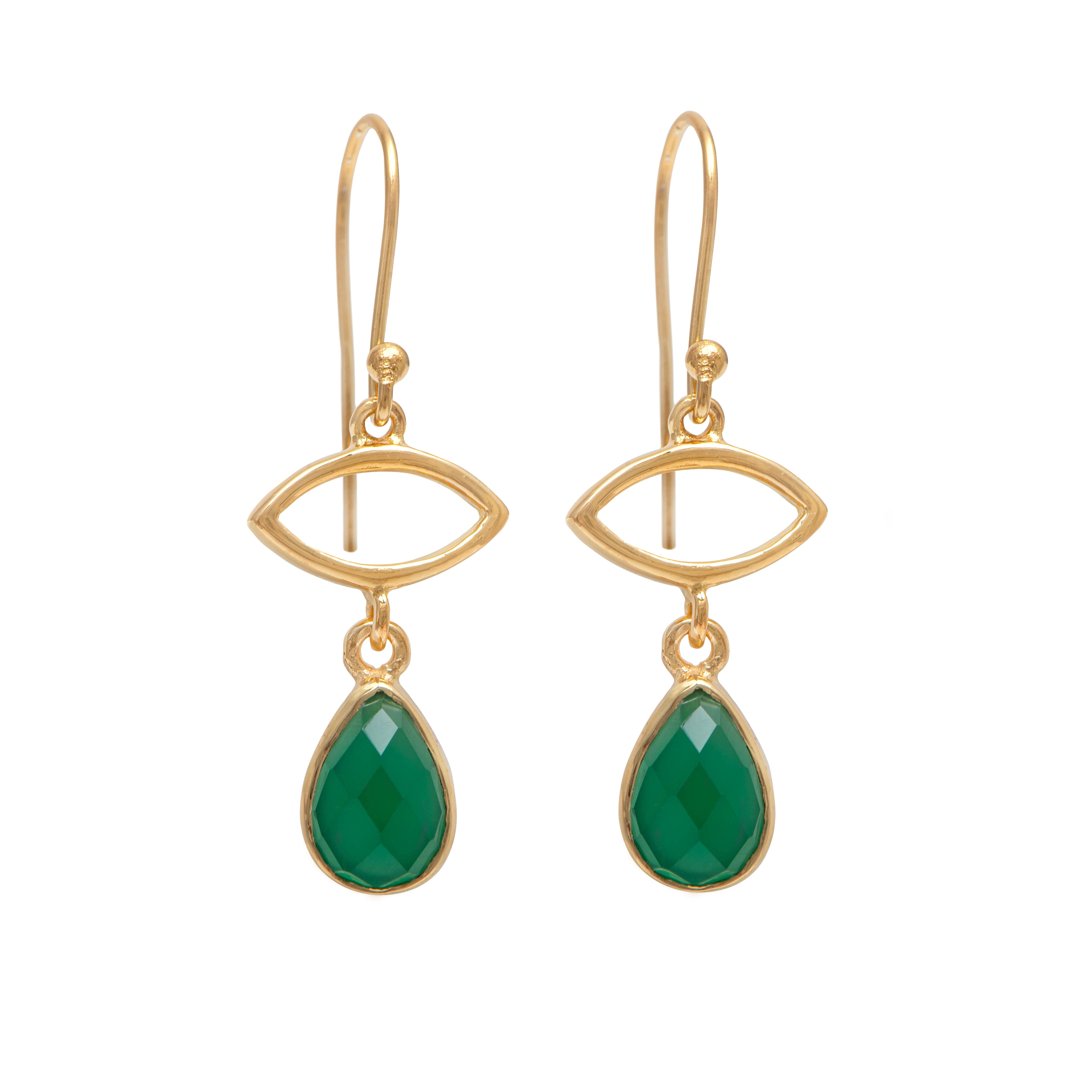 Gold Plated Drop Earrings with Green Onyx Gemstone
