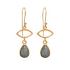 Gold Plated Drop Earrings with Labradorite Gemstone
