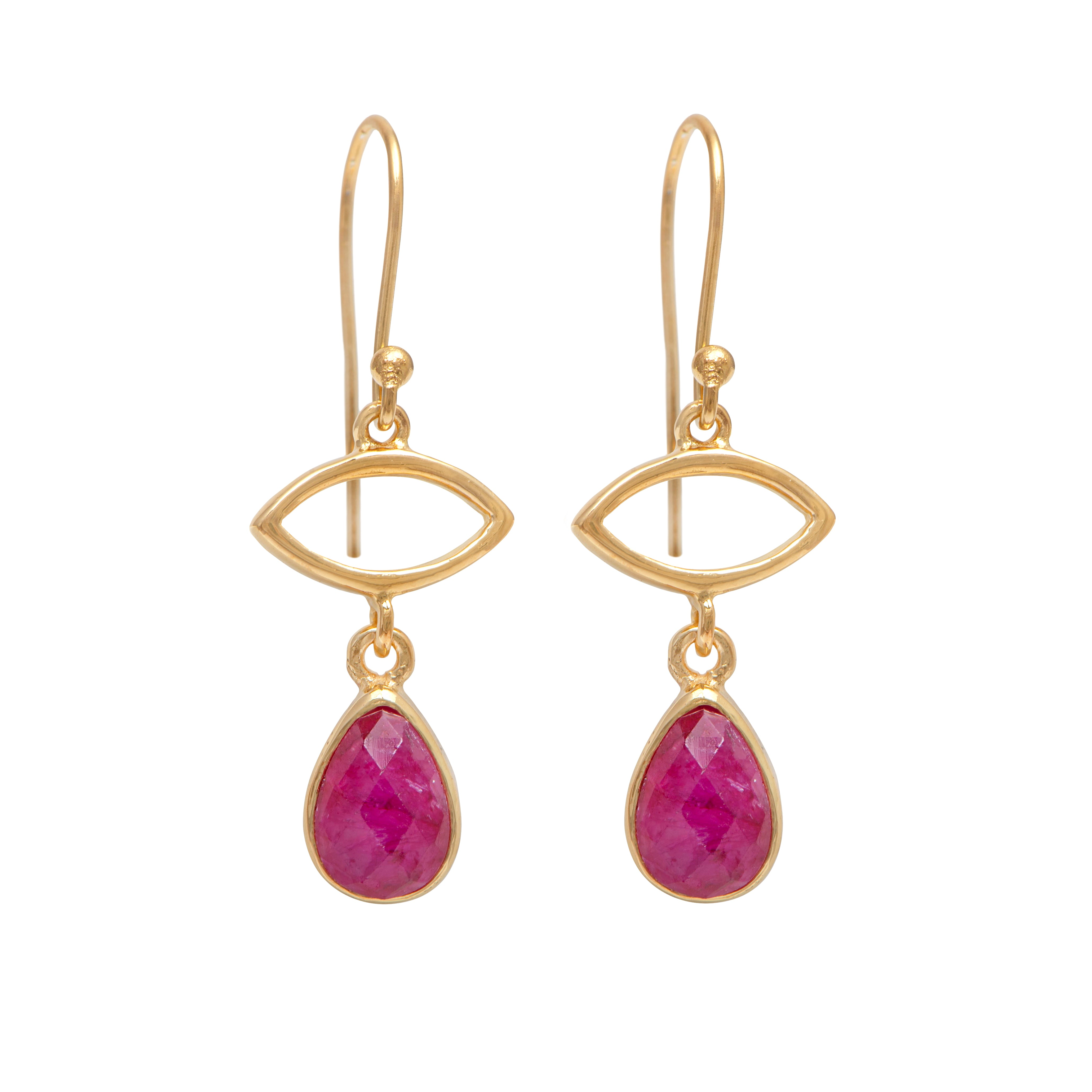 Gold Plated Drop Earrings with Ruby Quartz Gemstone
