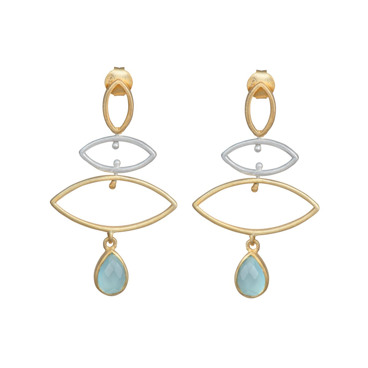 Long earrings in sterling silver and gold plated sterling silver with a stone drop - Aqua Chalcedony
