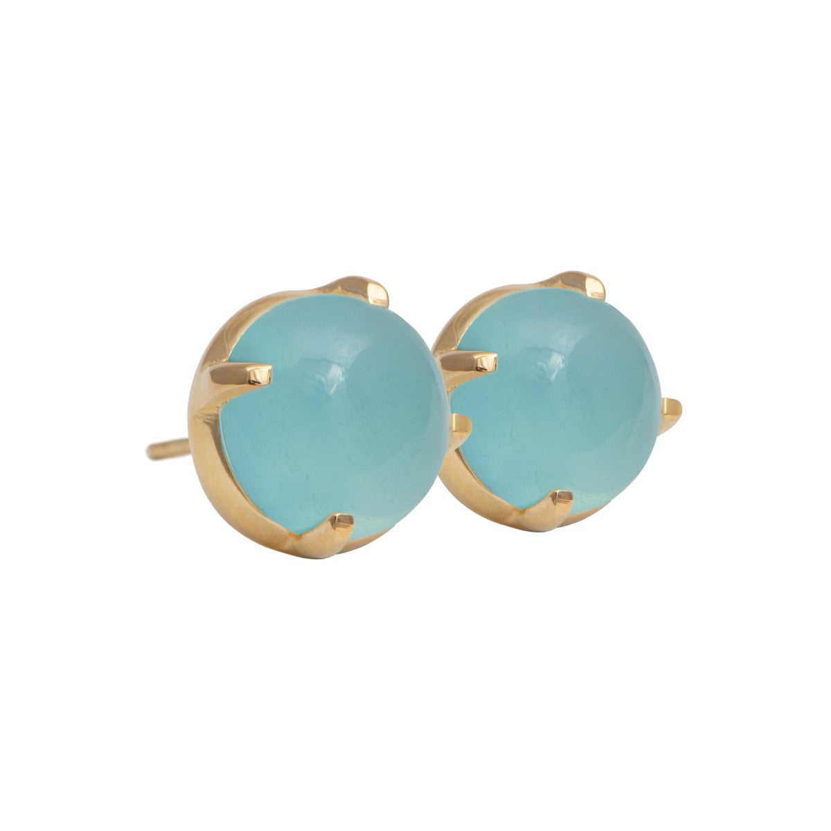 Round Cabochon Aqua Chalcedony Stud Earrings in Gold Plated Sterling Silver