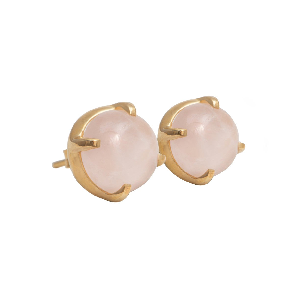 Round Cabochon Rose Quartz Stud Earrings in Gold Plated Sterling Silver