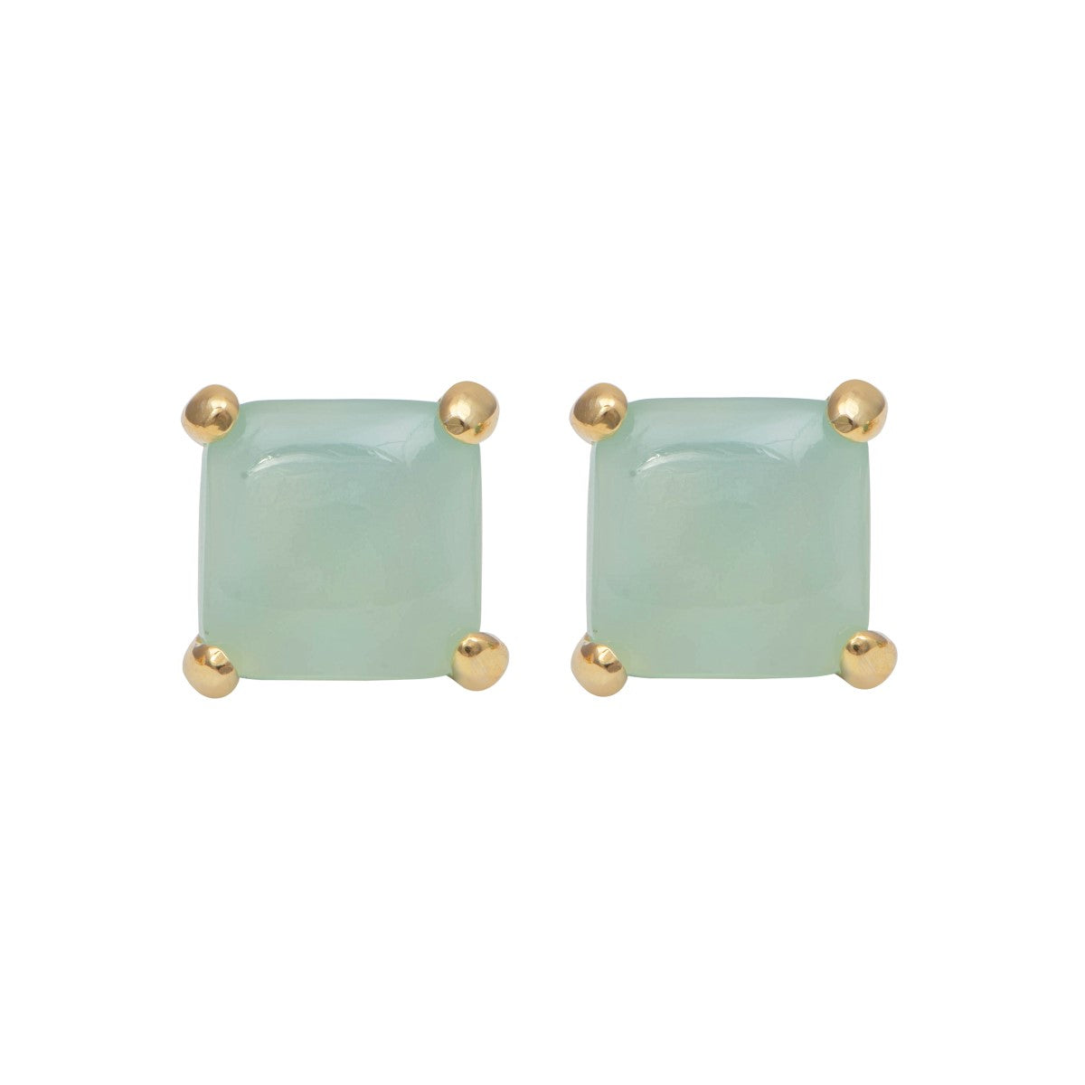 Square Cabochon Aqua Chalcedony Stud Earrings in Gold Plated Sterling Silver