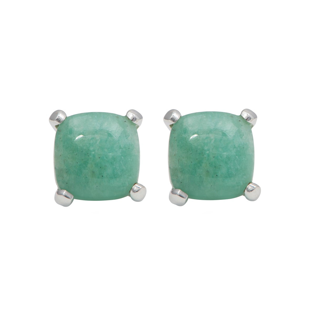 Square Cabochon Amazonite Stud Earrings in Sterling Silver
