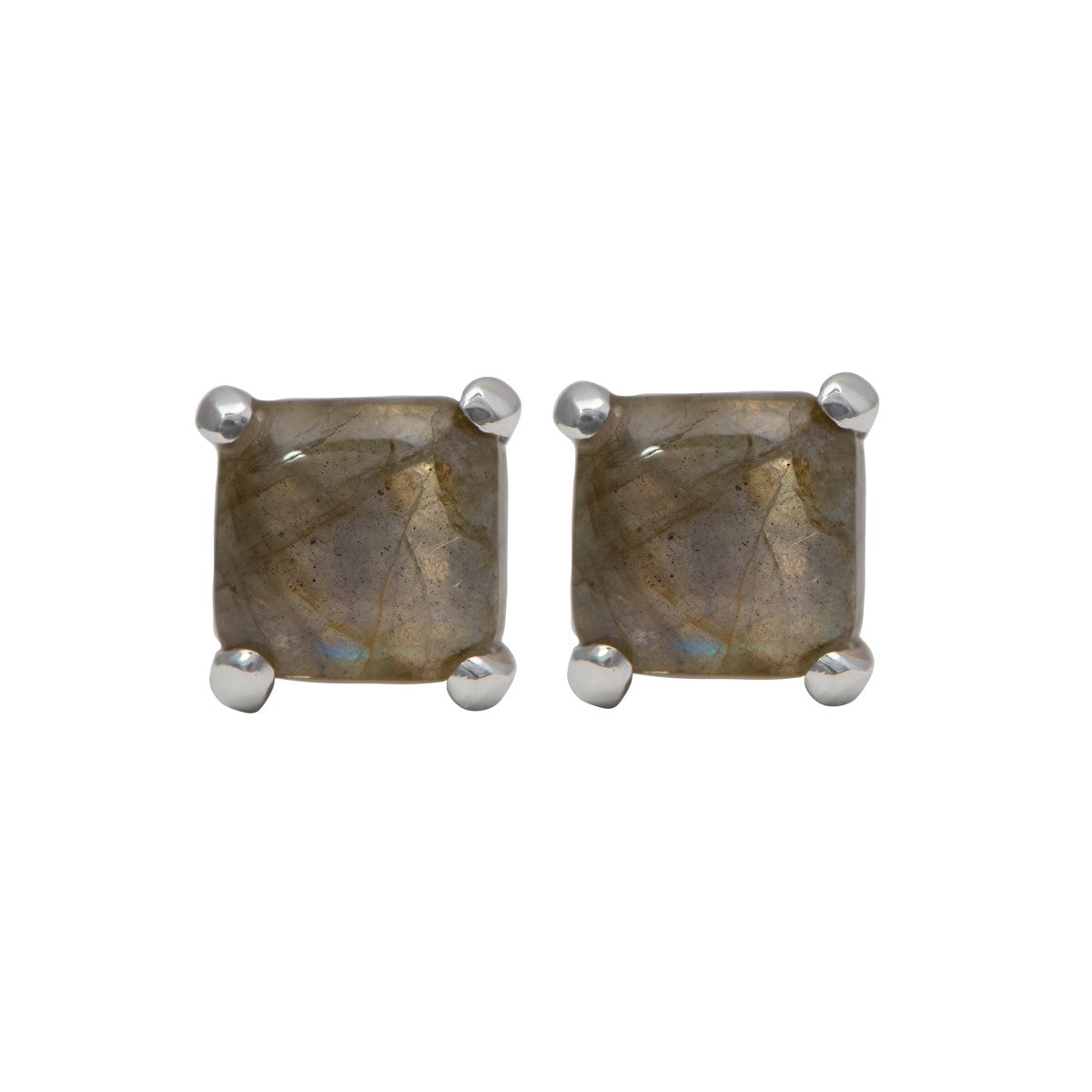 Square Cabochon Labradorite Stud Earrings in Sterling Silver