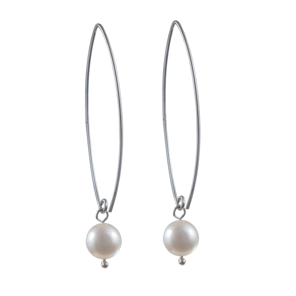Long Silver Earrings with Pearl Drop