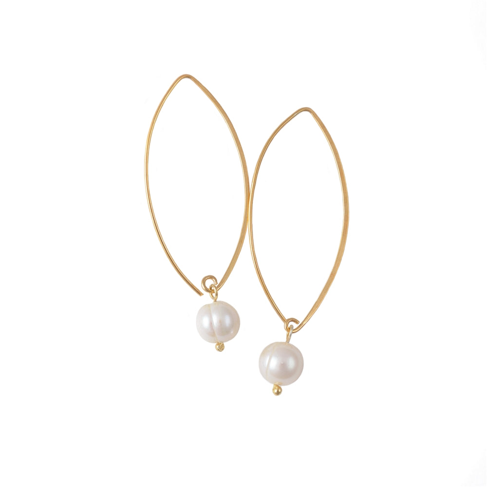 Gold Plated Long Silver Earrings with Pearl Drop