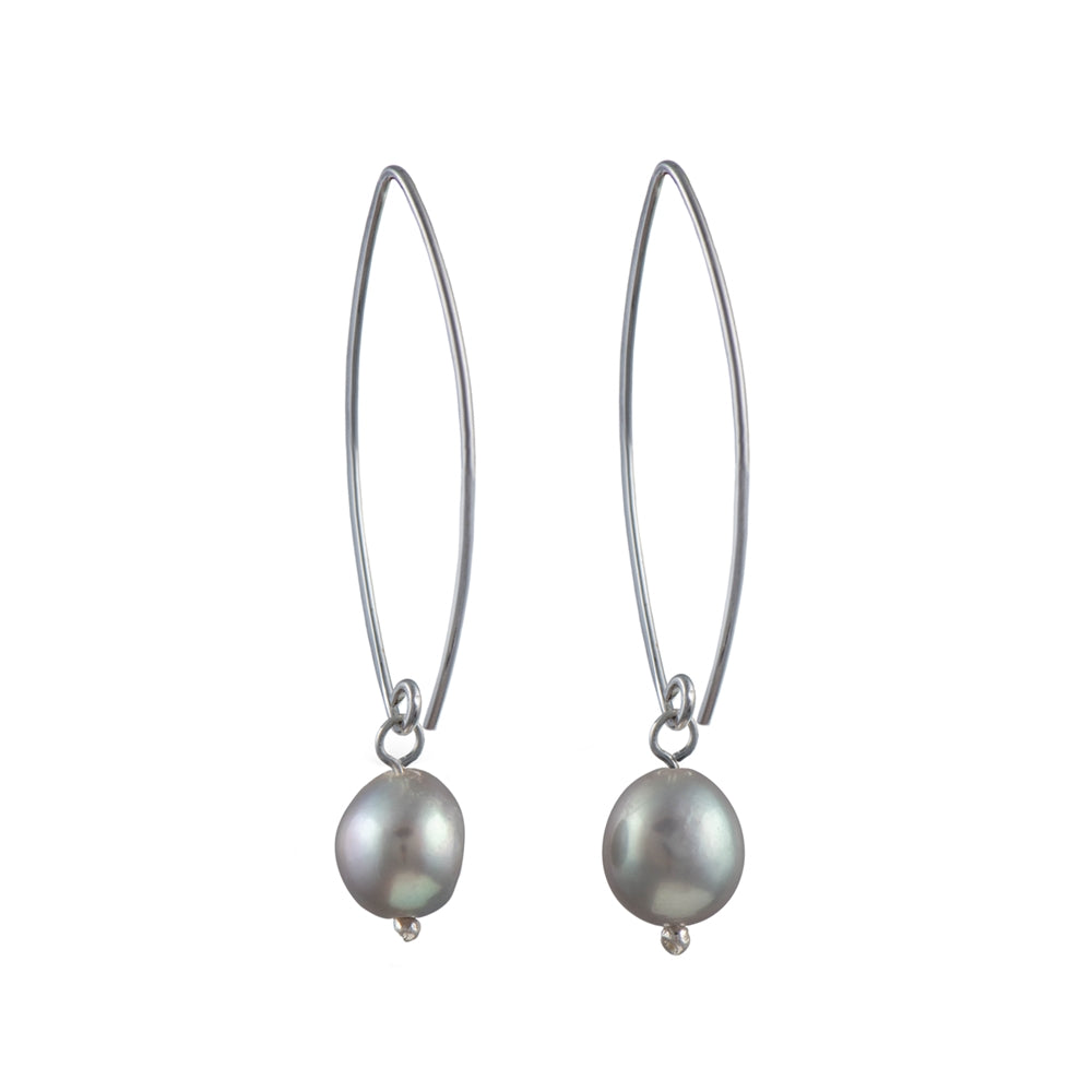 Long Silver Earrings with Grey Pearl Drop