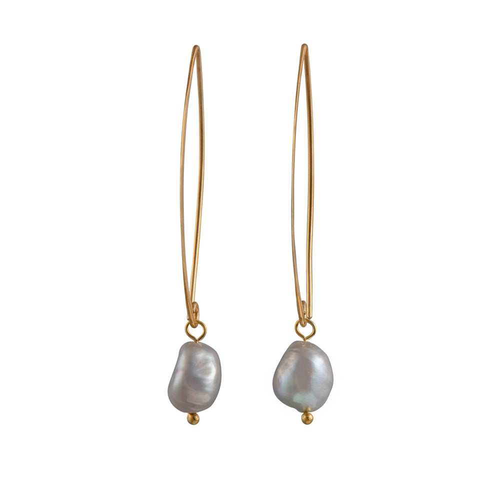 Gold Plated Long Silver Earrings with Grey Pearl Drop