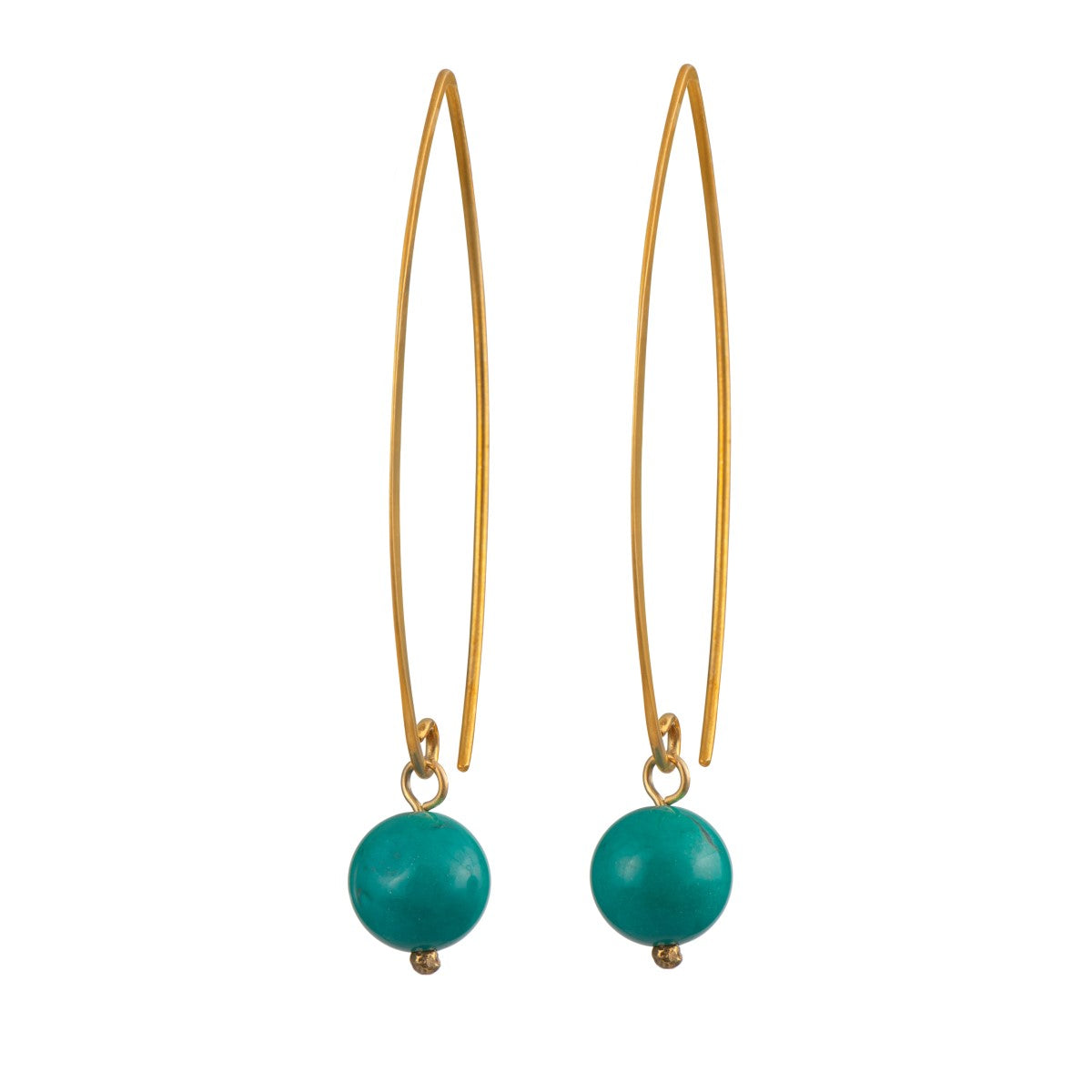 Gold Plated Long Silver Earrings with a Turquoise Drop