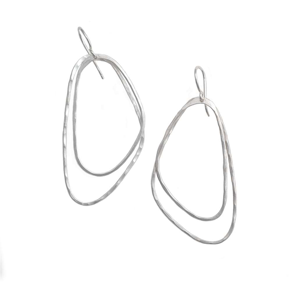 Brushed Silver Asymmetric Triangle Earrings