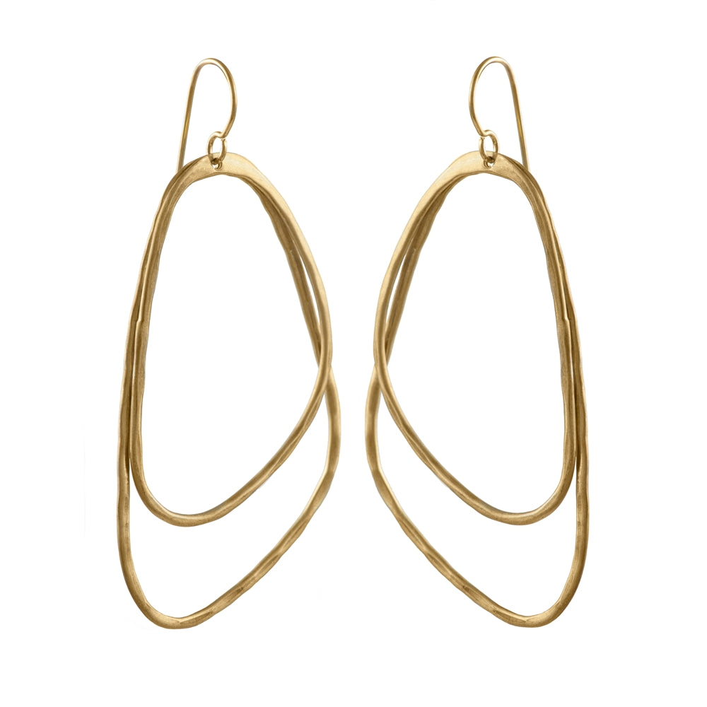 Gold Plated Brushed Silver Asymmetric Triangle Earrings