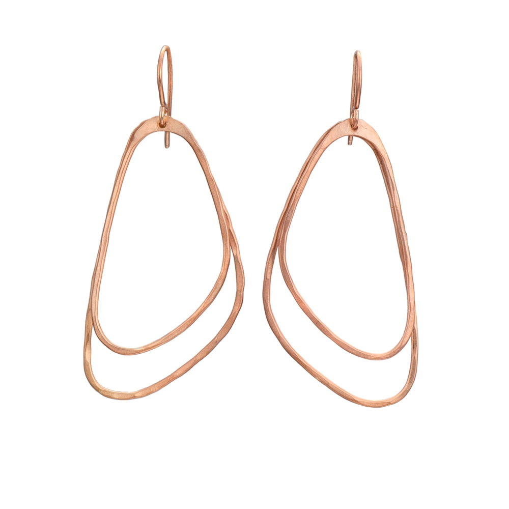Rose Gold Plated Brushed Silver Asymmetric Triangle Earrings