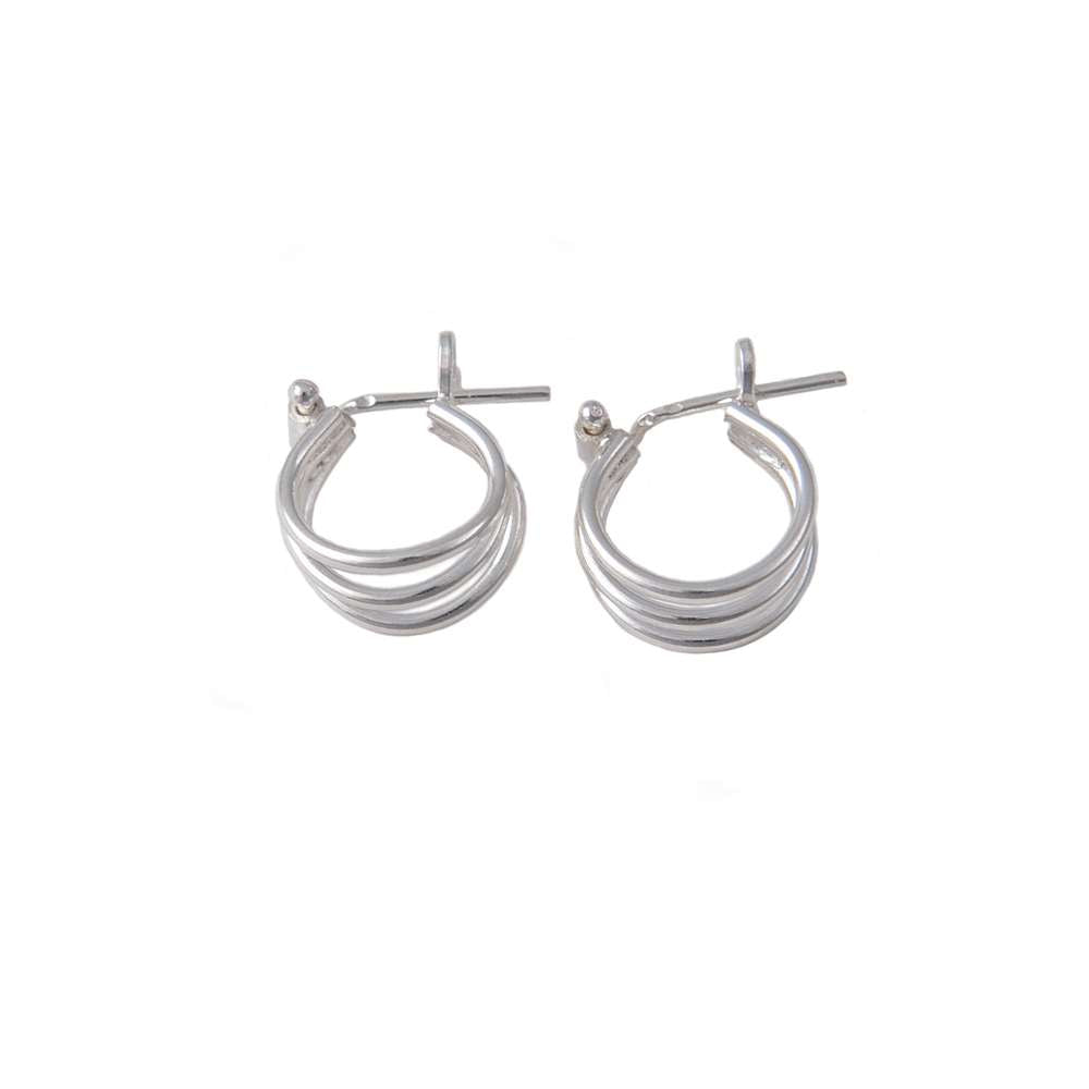 Small Triple Ring Silver Hoop Earrings