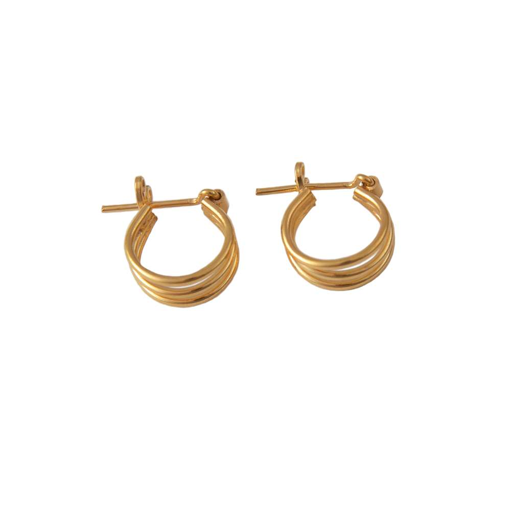 Small Triple Ring Gold Plated Silver Hoop Earrings