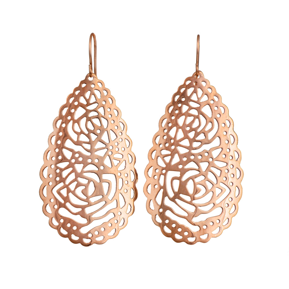 Rose Gold Plated Silver Filigree Earrings