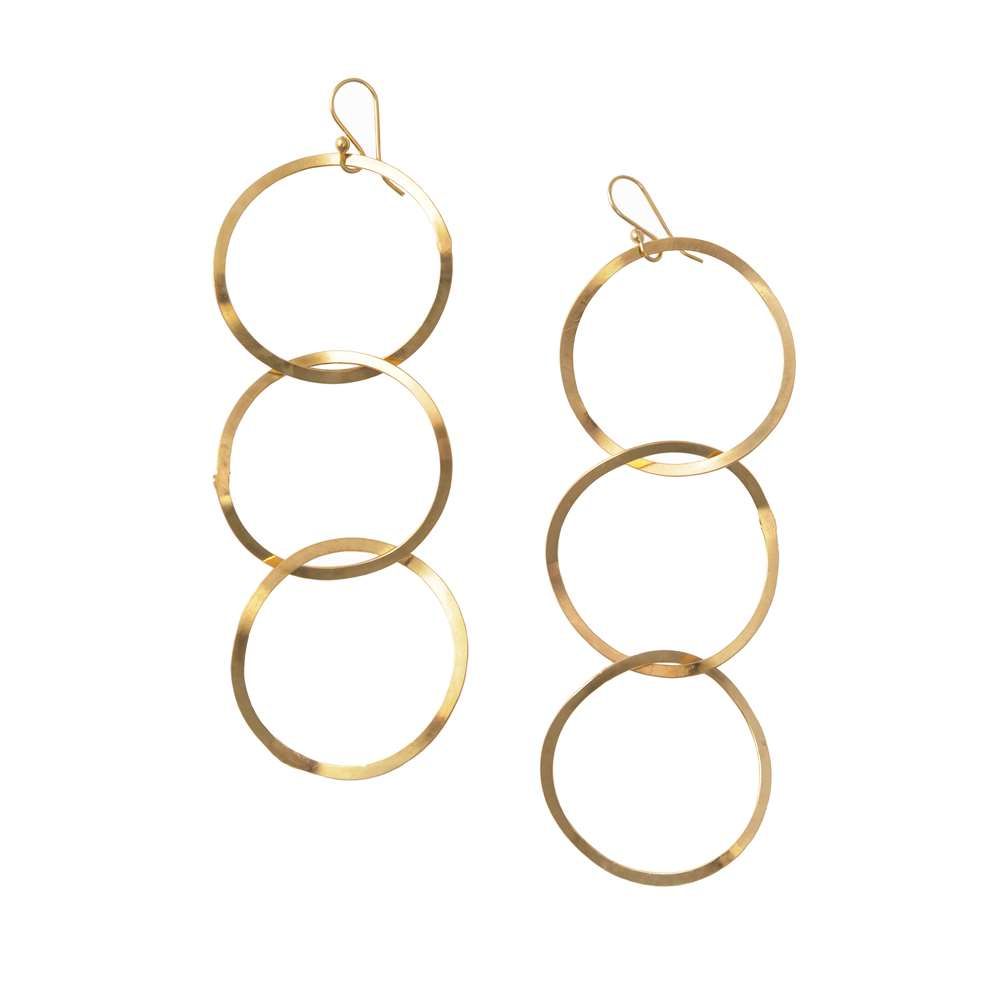 Gold Plated Silver Earrings - Interlinked Rings