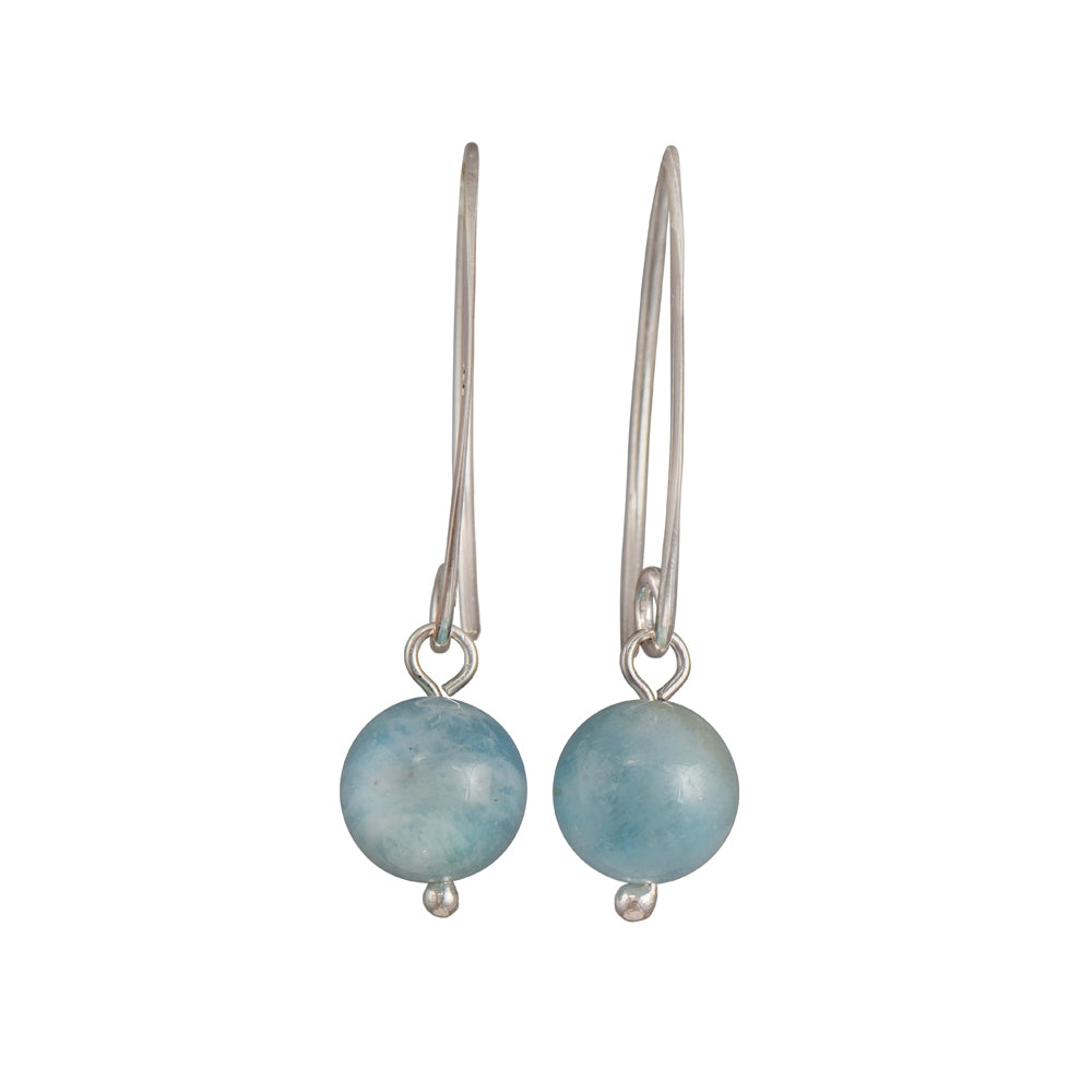 Sterling Silver Earrings with Aquamarine Drop