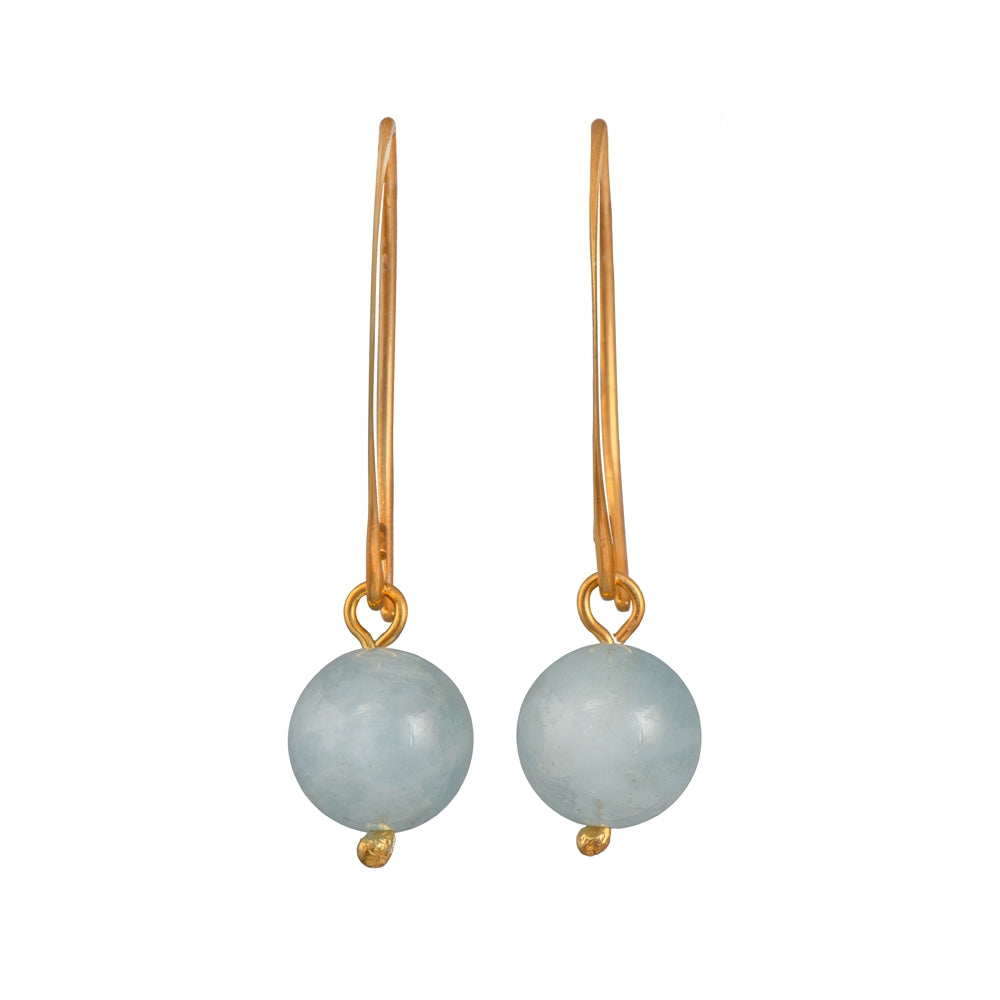 Gold Plated Sterling Silver Earrings with Aquamarine Drop