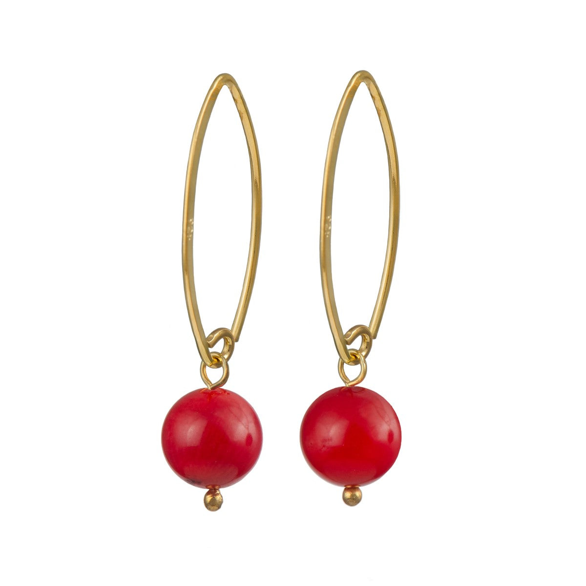 Gold Plated Silver Earrings - Coral Drop