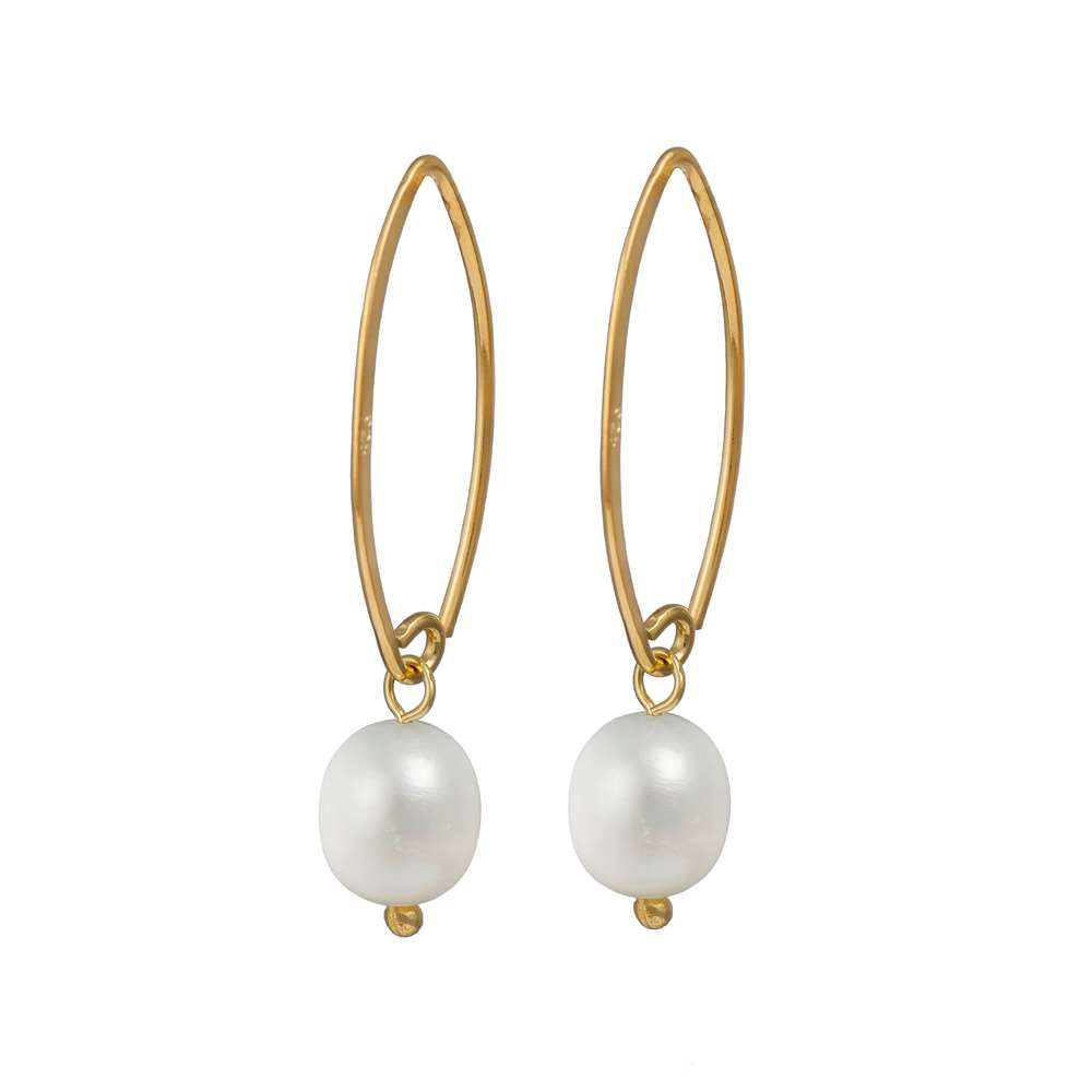 Gold Plated Silver Hook Earrings - Pearl
