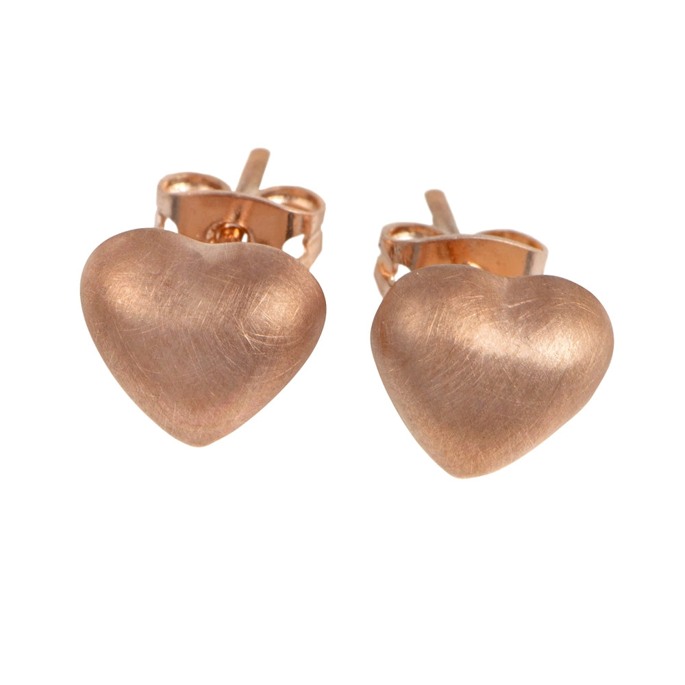 Rose Gold Plated (Brushed) Puffy Heart Silver Studs