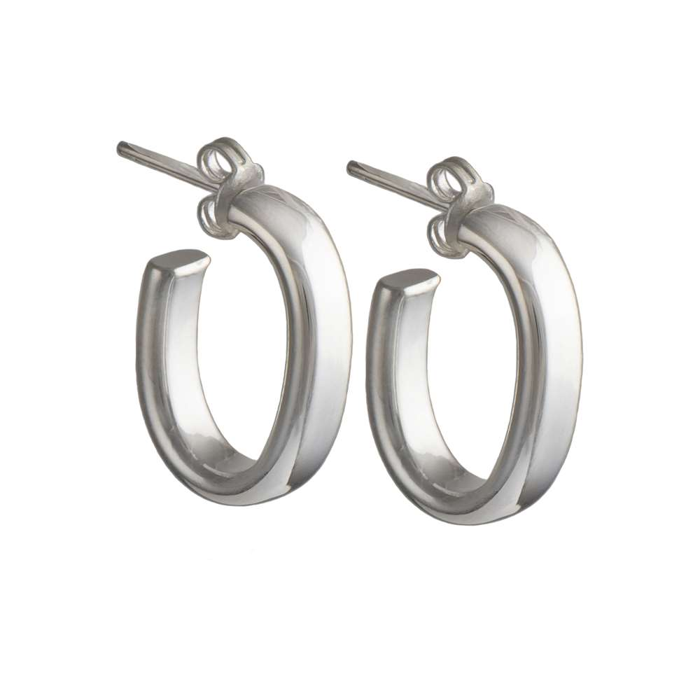 Silver Earrings - Oval Hoops