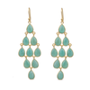 Gold Plated Sterling Silver Chandelier Earrings with Semi-Precious Stones - Amazonite