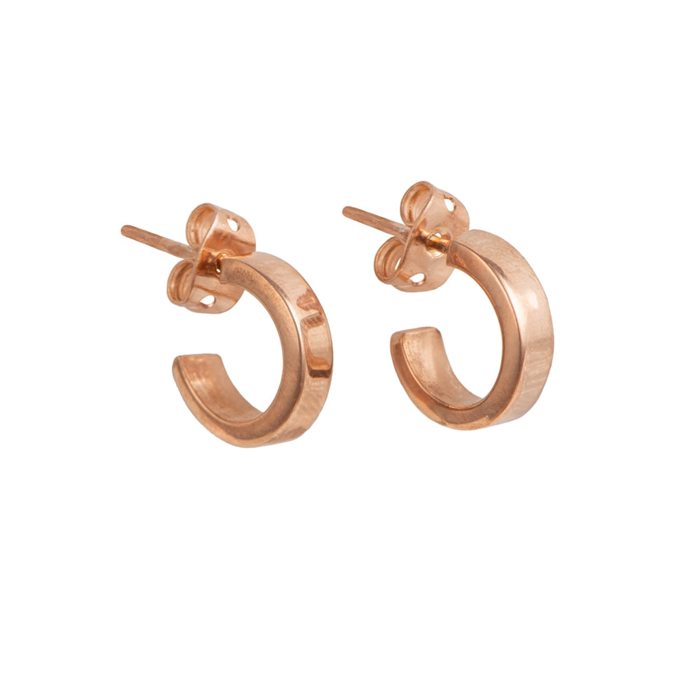 Rose Gold Plated Silver Small Flat Hoop Earrings
