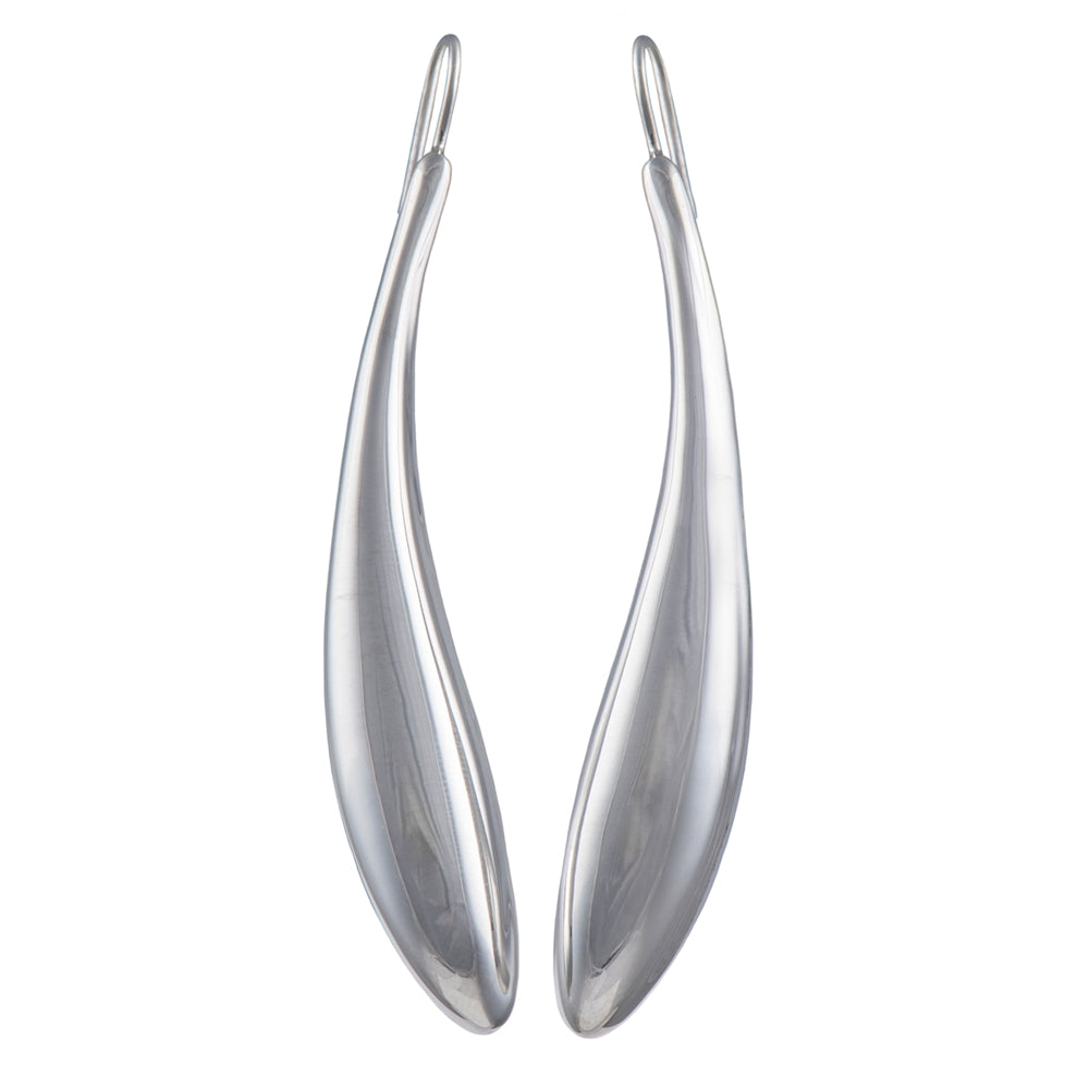 Silver Earrings - Long Curved Statement Earrings