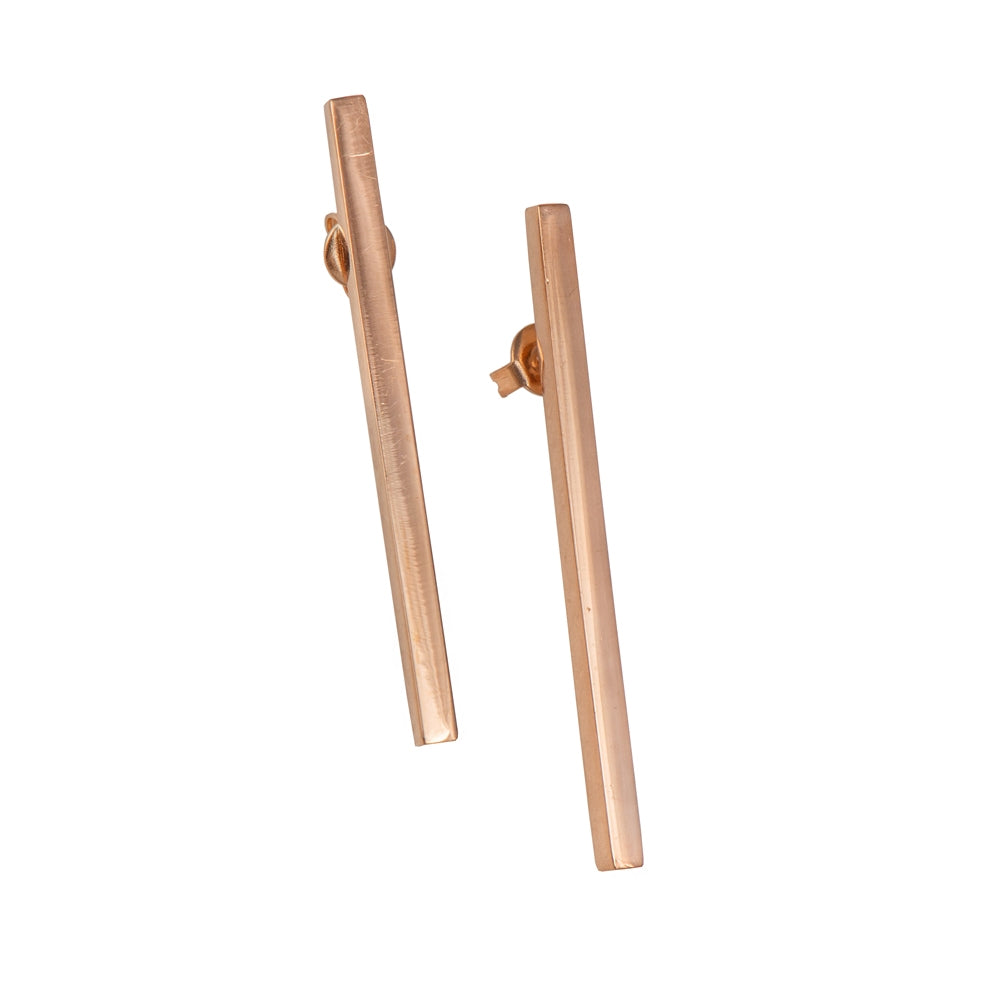 Long Cuboid Shaped Straight Bar Rose Gold Plated Sterling Silver Earrings
