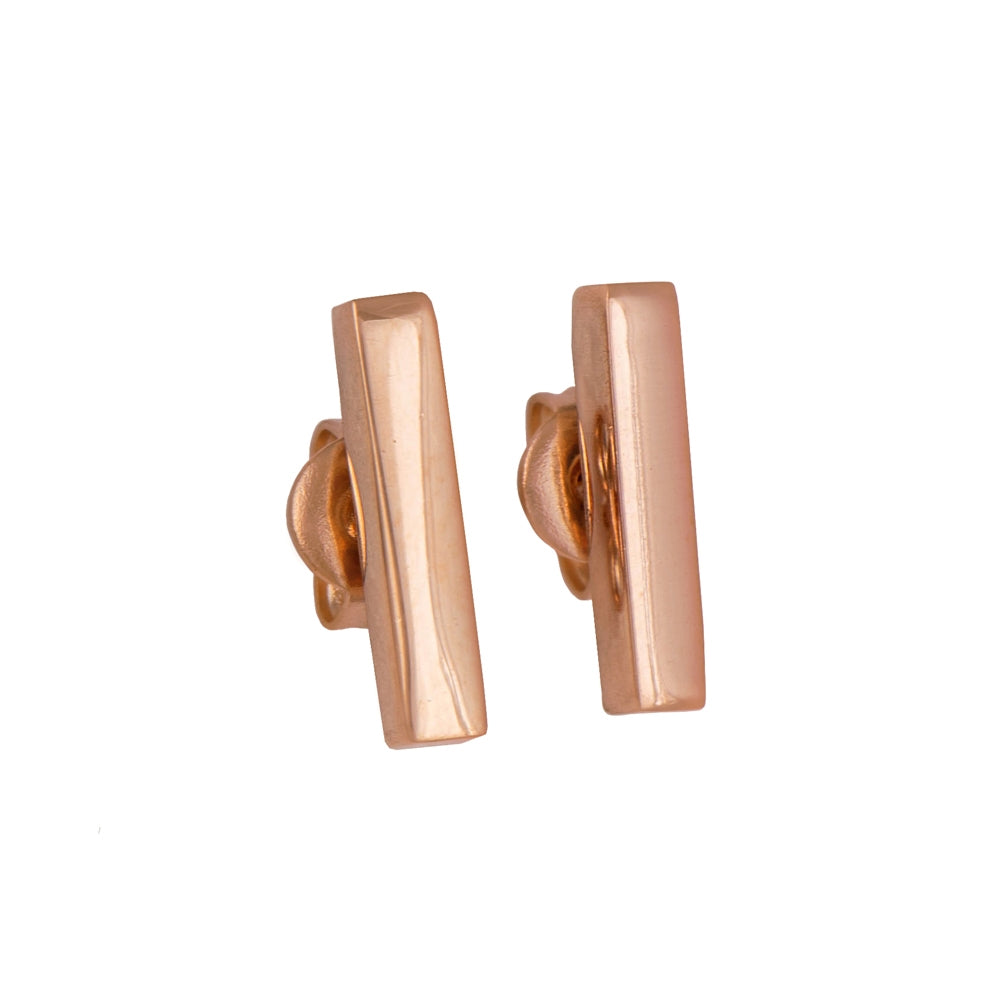 Dainty Cuboid Shaped Straight Bar Rose Gold Plated Sterling Silver Stud Earrings