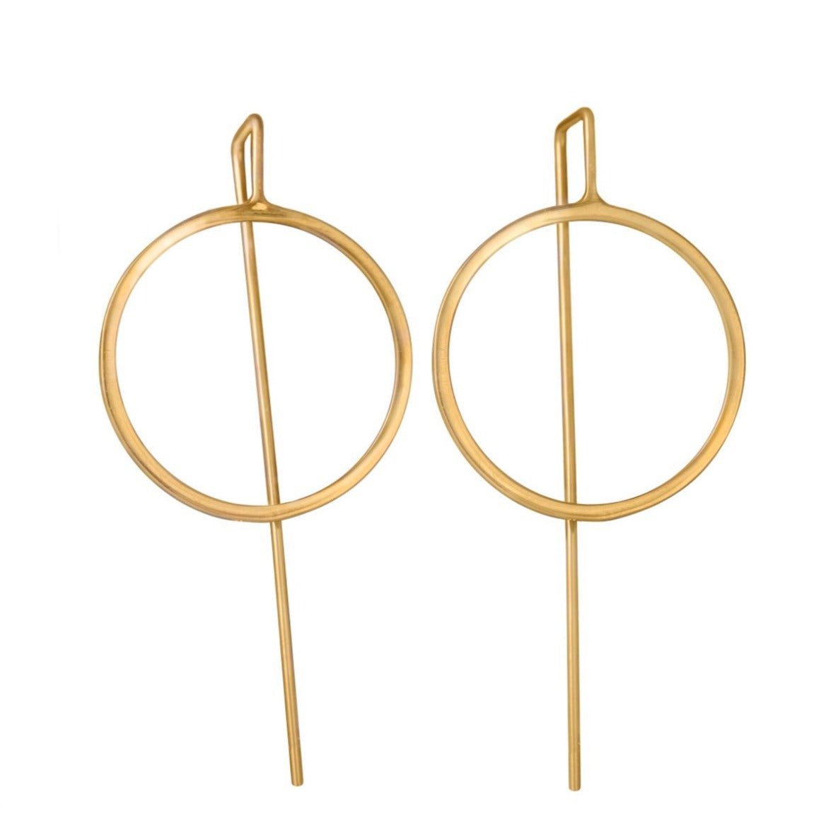 Gold Plated Sterling Silver Hollow Circle Earrings with a Long Straight Back