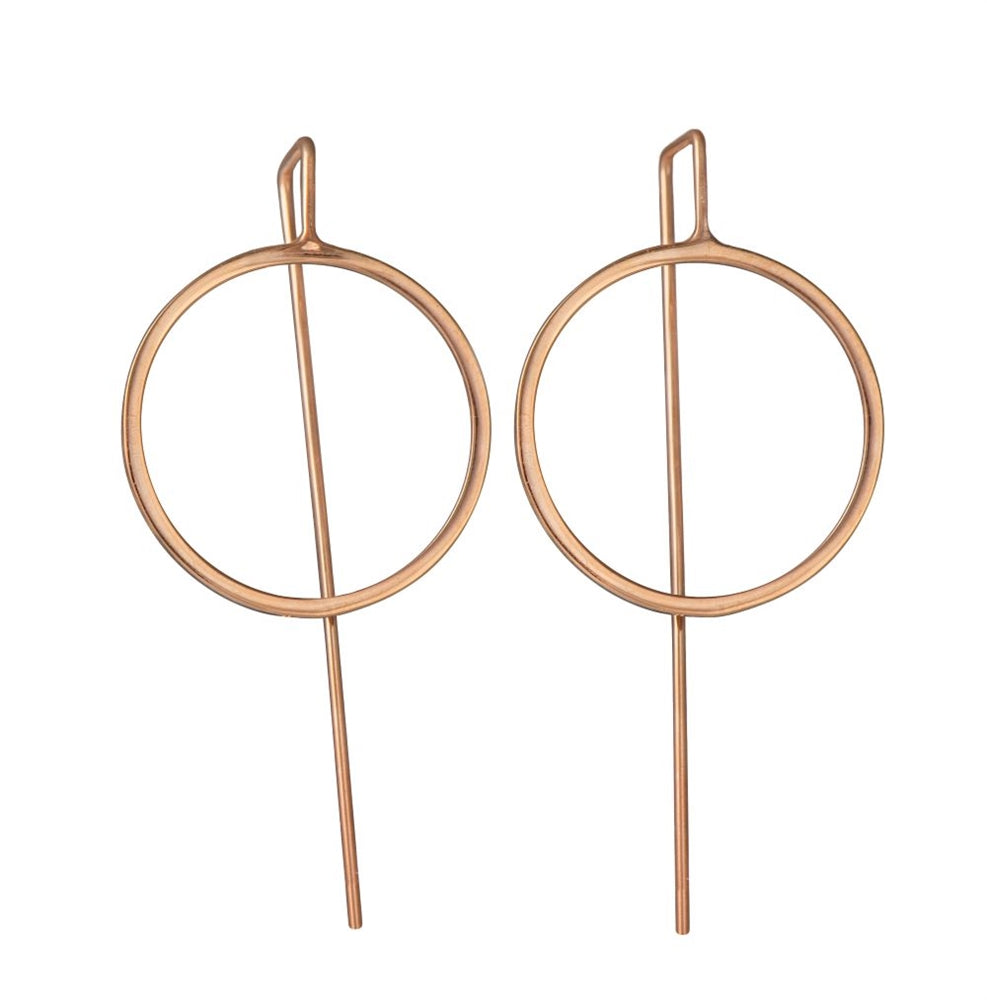 Rose Gold Plated Sterling Silver Hollow Circle Earrings with a Long Straight Back