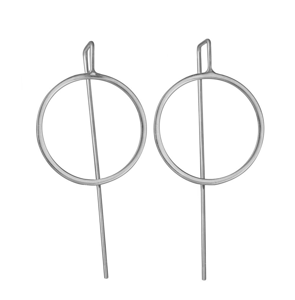 Sterling Silver Hollow Circle Earrings with a Long Straight Back