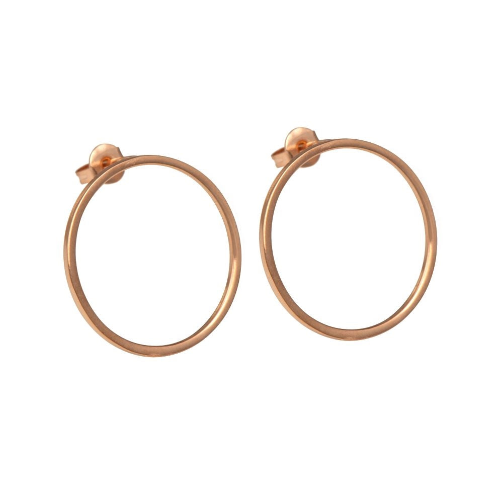 Rose Gold Plated Sterling Silver Hollow Circle Stud Earrings